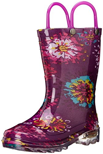 Western Chief Girls' Waterproof Rain Boots That Light up with Each Step, Abstract Bloom, 11 M US Little Kid (May Your Love Bloom A Hundred Year)