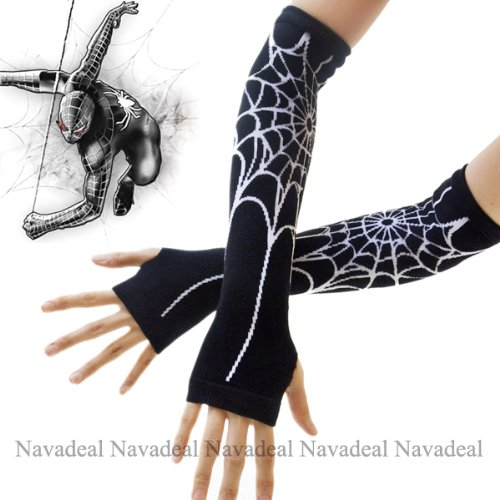 Dress Like A Celebrity Costume Party (Nava New Sexy Black Spiderman Spider Web Long Arm Warmer Fingerless Halloween Costume Dress Gloves)