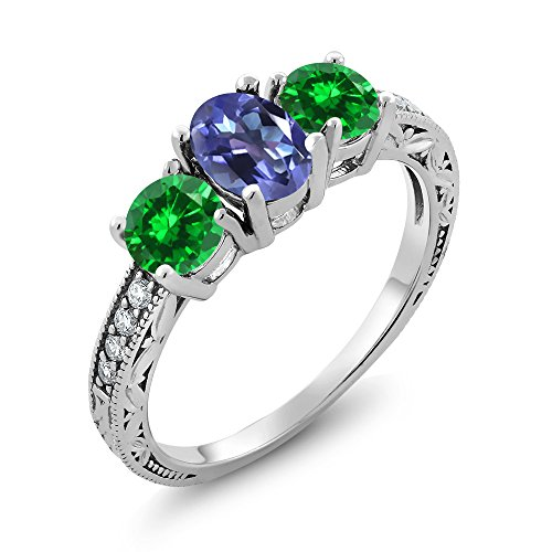 Gem Stone King 2.60 Ct Purple Blue Mystic Topaz Green Simulated Emerald 925 Sterling Silver Ring (Size 8) ()