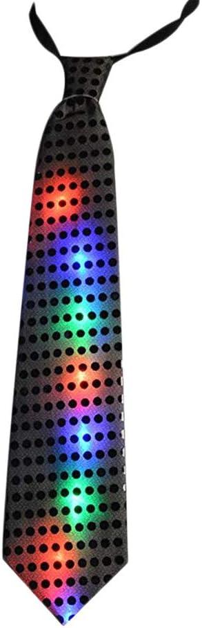 Corbata de Lentejuelas de Colores Flash Intermitente Brillo Corbata Fiesta Show Escenario ca/ído Apariencia Evento Carnaval Hombres Brillo Sombrero Cilindro Disco Lentejuelas Caja Anewu Corbata LED