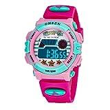 Aubig Colorful Watch Outdoor Sports Boys Girls LED Digital Alarm Stopwatch Waterproof Student Wristwatch Dress Gift Watch Red