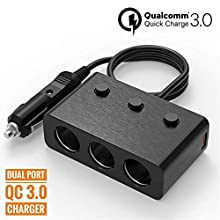Car Charger Fast Quick Charge 3.0 USB HUB Cup Holder Adapter Compatible Galaxy S9 Plus S8 A8 iPhone 7 6S 6 X 8 iPad - Dual Socket Lighter Splitter Cigarette Extender Multi Charging Port Outlet