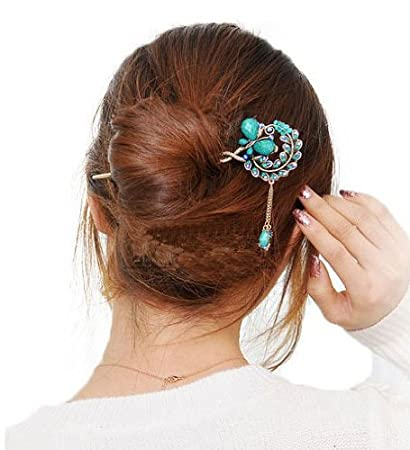 2522db3ba Amazon.com : Blue Vintage Retro Style Butterfly Beaded Antique Brass Hair Stick  Pin Clip w/Tassel for Long Hair Ponytail : Beauty
