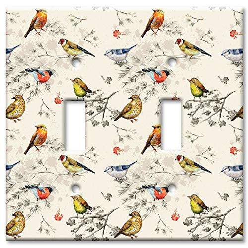 Art Plates Brand Double Gang Toggle Switch/Wall Plate - Seamless Birds ()