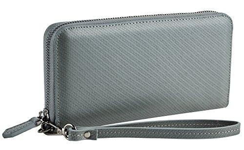 Women Leather Long Wallet (Gray) - 9