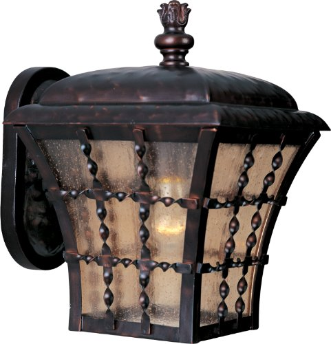 Maxim 30492ASOI Orleans 1-Light Outdoor Wall Lantern, Oil Rubbed Bronze Finish, Amber Seedy Glass, MB Incandescent Incandescent Bulb , 40W Max., Damp Safety Rating, 2900K Color Temp, Standard Dimmable, Glass Shade Material, 7800 Rated Lumens