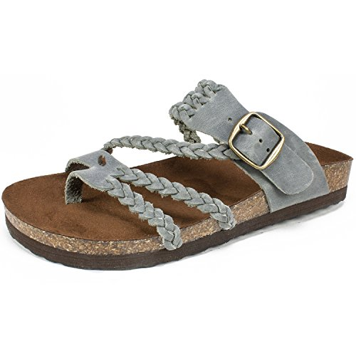 WHITE MOUNTAIN Shoes Hayleigh Women's Sandal, LT Blue/Leather, 10 - Toe Leather Ring