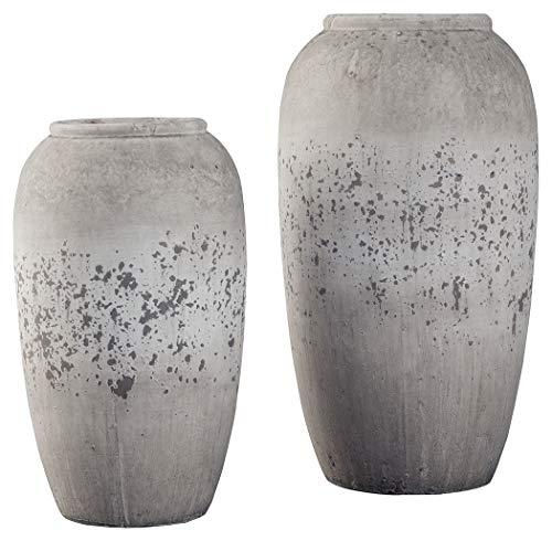 Ashley Furniture Signature Design - Dimitra Vase - Set of 2 - Casual - Painted Ceramic - Brown/Cream