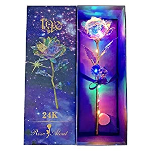 Kirifly Gold Rose Gifts for Women Artificial Flowers Fake Roses Presents Plastic Cellophane Flower Birthday Anniversary Engagement Multi Color Gifts 41