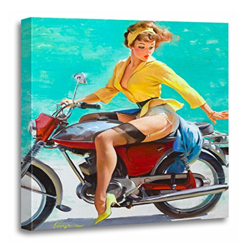 TORASS Canvas Wall Art Print Vintage Motorcycle Pin Up Retro Pinup Cheesecake Girl Artwork for Home Decor 20