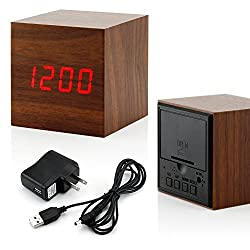 GEARONIC TM Wooden Alarm Clock, LED Square Cube Digital Alarm Thermometer Timer Calendar Updated 2016 Brighter LED - Brown