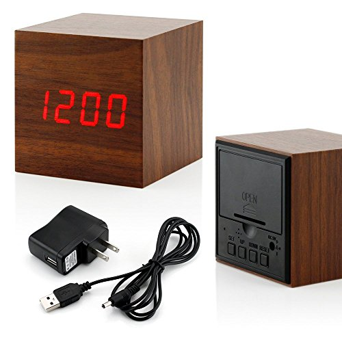 GEARONIC TM Wooden Alarm Clock, LED Square Cube Digital Alarm Thermometer Timer Calendar Updated 2016 Brighter LED - Brown (Digital Azan Clock)
