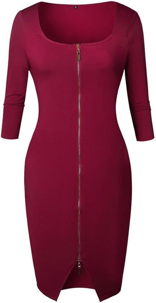 Women 3//4 Sleeve Zipper Office Bodycon Midi Sundress Evening Party Gown Kimloog Sheath Dress