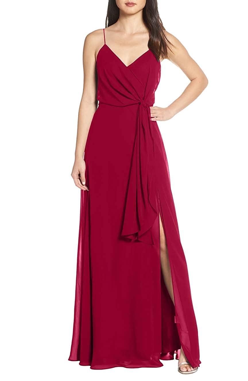 Dark Red V Neck Spaghetti Strap Evening Dress for Women Formal Bridesmaid Party Prom Gown