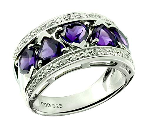 RB Gems Sterling Silver 925 Ring Genuine Gems Heart-Shape 5 mm, 2 Cts, Rhodium-Plated Finish Band-Style (12, Amethyst)