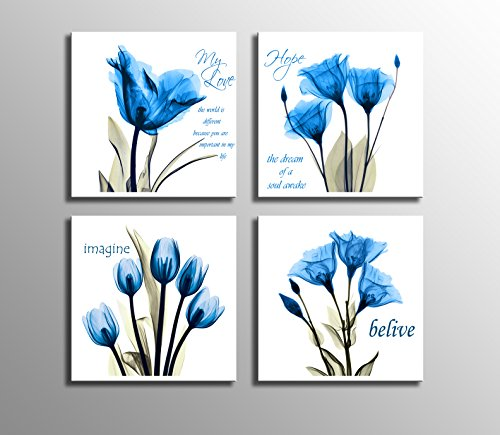 Blue Flower Wall Decor for Living Room Bedroom Bathroom 4 Panles Stretched and Framed Ready to Hang (Garden Hand Painted Wall Letters)