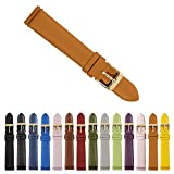 Thirteen.02 Gold 18mm Genuine Leather Womens Easy Interchangeable Watch Band Strap - Tan