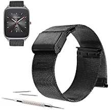 22mm Stainless Steel Milanese Loop Watch Band Strap + Pins + Tool For ASUS Zenwatch 2 2015 (YESOO Retail Packaging - 180 Days Warranty) (Black)