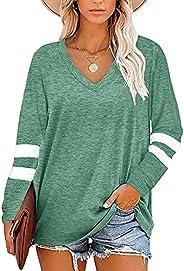 Famulily Womens V Neck Long Sleeve Shirt Comfy Color Block Sweatshirt Soft Cotton Baseball Tunic Tops