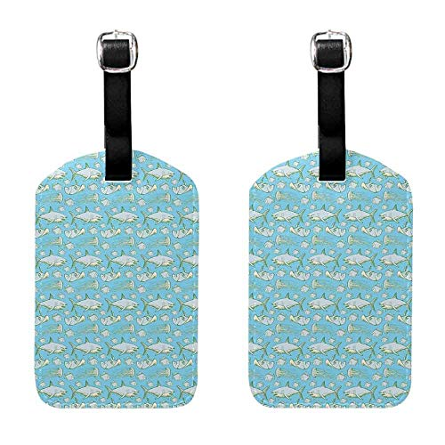 Gift for Travelers Shark,Sea Creatures in Vintage Style Swimming Flatfish Stingray and Jellyfish,Pale Blue Grey Green Leather Strap - Set of 2