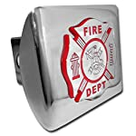 "Fire Department Firefighter Insignia ""Bright Polished Chrome Plated Maltese Cross Emblem"" Metal Trailer Hitch Cover Fits 2 Inch Auto Car Truck Receiver"