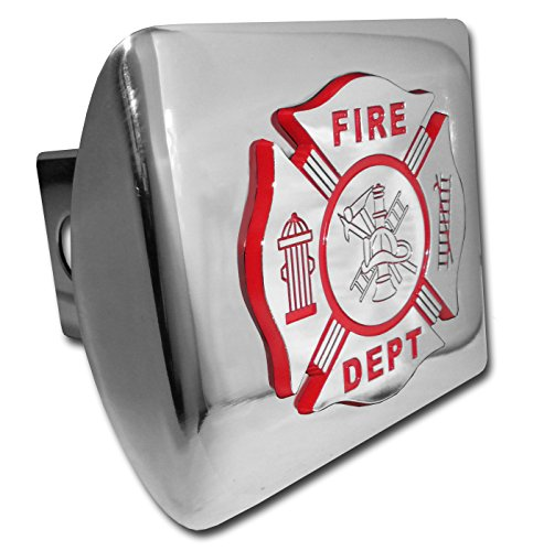 Firefighter Hitch Covers (Firefighter (Chrome & Red) ALL METAL Shiny Chrome Hitch Cover)