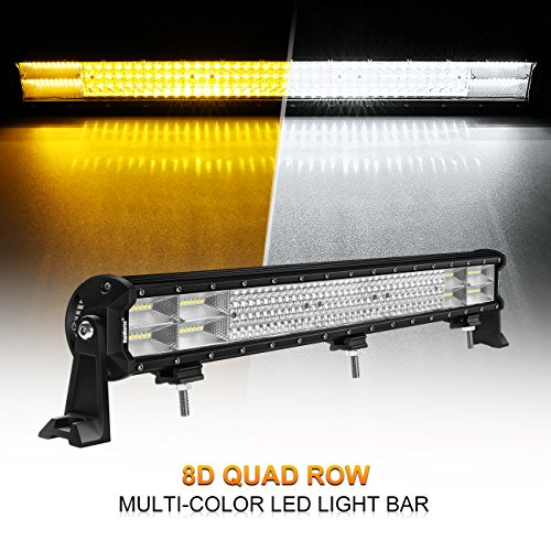 LED Light Bar Rigidhorse 29Inch 635W Quad Row Multi-Color LED Light Bar Spot Flood Combo Beam Off Road Light Bar For Jeep SUV Truck ATVs