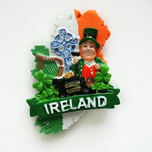 (Map Of Ireland Tri Colour Magnet With Icons Of Ireland)