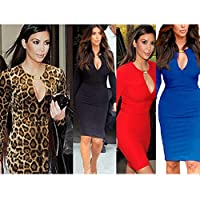 OFTEN Women Ladies Dress for Party Keyhole with Metal Buckle Bodycon Pencil Party Dress