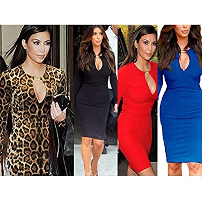 OFTEN Women Lady Keyhole with Metal Buckle Bodycon Pencil Party Dress