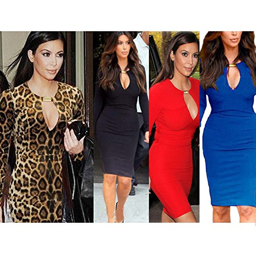 OFTEN Women Lady Keyhole with Metal Buckle Bodycon Pencil Party Dress,Leopard,Small