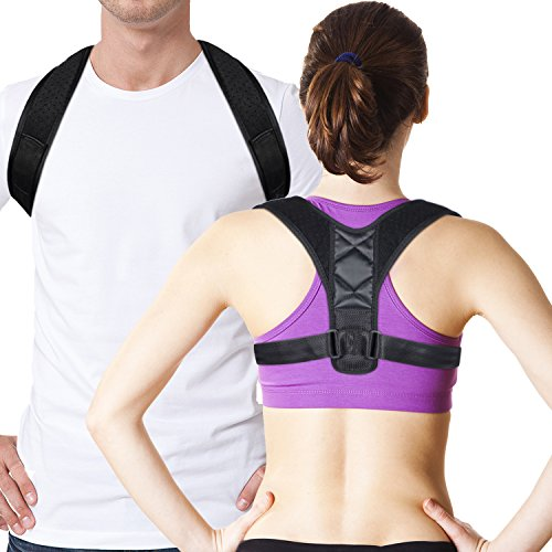 Posture Corrector Shoulder Back Support Brace for Men / & Women / - Medical Figure 8 Shaped Design for Bad Posture, Shoulder Alignment, Prevent Slouching, Upper Back Pain Relief ( 35'' to 43'') by GOOLEEN