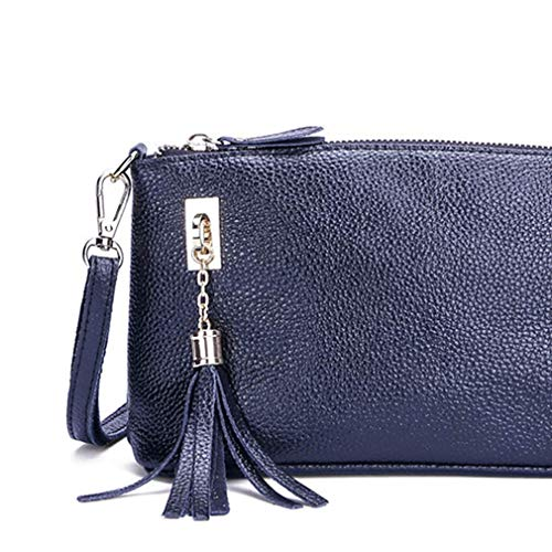 Borse Blu Le Cinghia Femminile Regolabile Leather Con Donne Zipper Tracolla A Nappa Cartella Crossbody Signora Scuro 6xxXgqUA