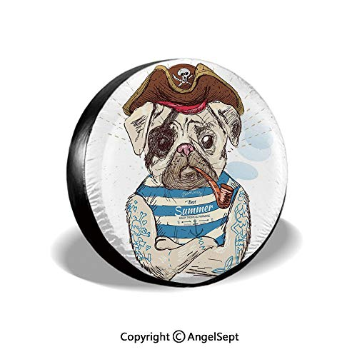 Spare Tire Cover,Pirate Pug Conqueror of The Seas Pipe Skulls and Bones Hat Striped Sleeveless T Shirt Decorative,Brown Blue,for Jeep,Trailer, RV, SUV and Many Vehicle 14