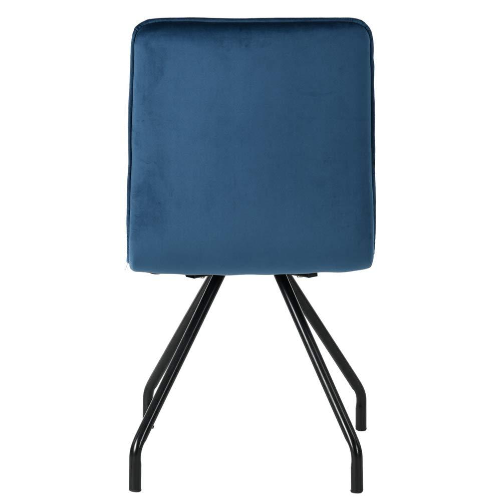 HOMYCASA Lot de 2 Chaises Scandinave Bleu Salle /à Manger Velours M/étal