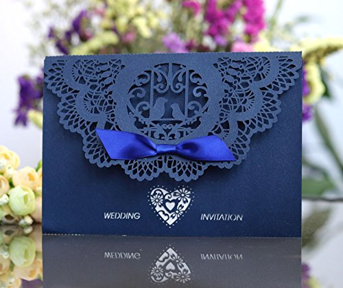 Better-way 200pcs Laser Cut Wedding Invitations with Lace and Hollow Out Design, Invitations Card with Ribbon for Wedding Baby Shower Engagement Birthday Party (Navy Blue)