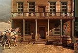 AOFOTO 8x6ft Vintage Wood House Backdrop Horse Photography Background Cowboy Adult Man Artistic Portrait Old Wild West Rustic Retro Nostalgia Photo Shoot Studio Props Video Drop Vinyl Wallpaper Drape