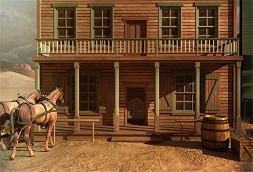 AOFOTO 8x6ft Vintage Wood House Backdrop Horse Photography Background Cowboy Adult Man Artistic Portrait Old Wild West Rustic Retro Nostalgia Photo Shoot Studio Props Video Drop Vinyl Wallpaper Drape -