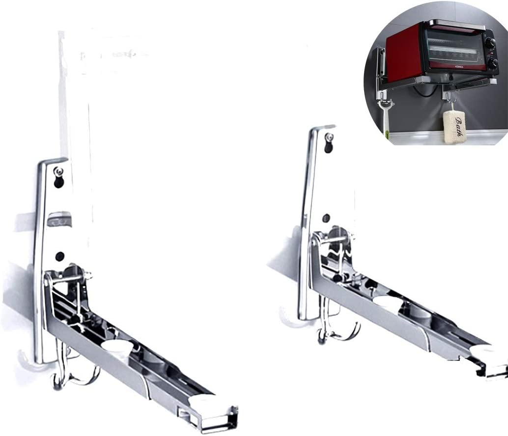 LOKEKE Stainless Steel Foldable Microwave Oven Wall Bracket Mount Stand Holder Rack with Tow Hooks