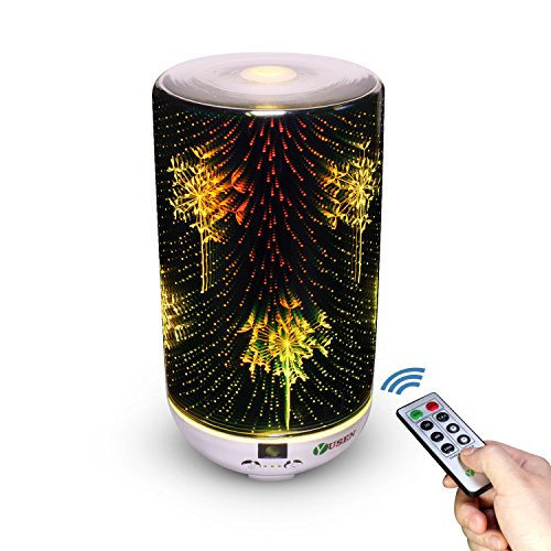 Glass Aromatherapy Essential Oil Diffuser, Yusen Ultrasonic Humidifier with Remote, Cool Mist Air Purifier, Colorful 3D Night Light, Dandelion Style