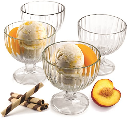 ooted Glass Ice Cream Dessert Dish Bowl, Set of 4, 9 Ounce Each, Limited Edition Glassware Serveware (Footed Ice Cream)
