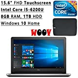 "Newest Dell Inspiron Flagship High Performance 15.6"" Full HD Touchscreen Backlit Keyboard Laptop PC, Intel Core i5-6200U Dual-Core, 8GB DDR3, 1TB HDD, RealSense 3Dcamera, WIFI, Bluetooth, Windows 10"