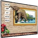 Docooler 100 inch HD 4K Projector Screen, Indoor Outdoor 4:3 Portable Movie Projector Screen