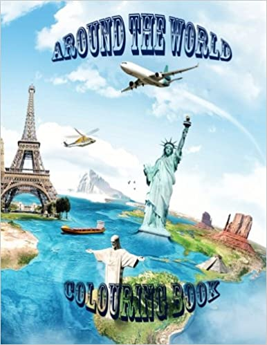 Around the world: Around the world colouring book for kids. This educational book is on countries of the world from A to Z with information on each and images to colour as well as the flag.