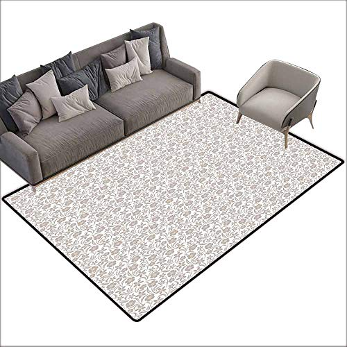 Slip-Resistant Washable Entrance Doormat Beige,Soft Gentle Floral Arrangement with Nature Inspirations Foliage Illustration Abstract,Tan White 48