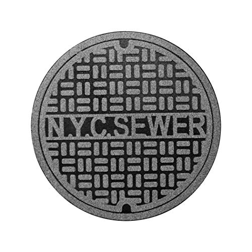 Fred & Friends 5242976 Feet First-Recycled, New York Door Mat, Grey and Black (Manhole Cover Rug)