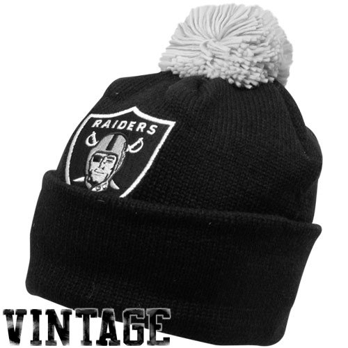 Oakland Raiders Mitchell & Ness NFL Throwback Jersey Stripe Cuffed Knit Hat w/ (Raiders Throwback Jersey)