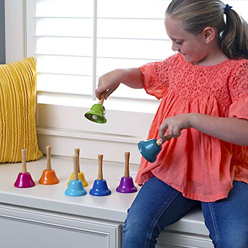 Fat Brain Toys Rainbow Music Hand Bells with Wood Handles Music for Ages 3 to 7 by Fat Brain Toys