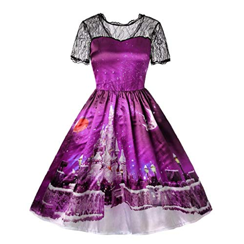 KASAAS Womens Christmas Short Sleeve Lace Patchwork Printing Vintage O-Neck Gown Party ()