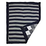 Burt's Bees Baby - Honeybee Mini Check Reversible Quilt, 100% Organic and 100% Polyester Fill (Blueberry)